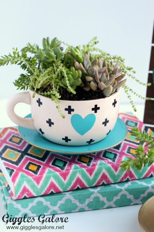 DIY Succulent Tea Cup Planter_Black White Teal Cup_Giggles Galore