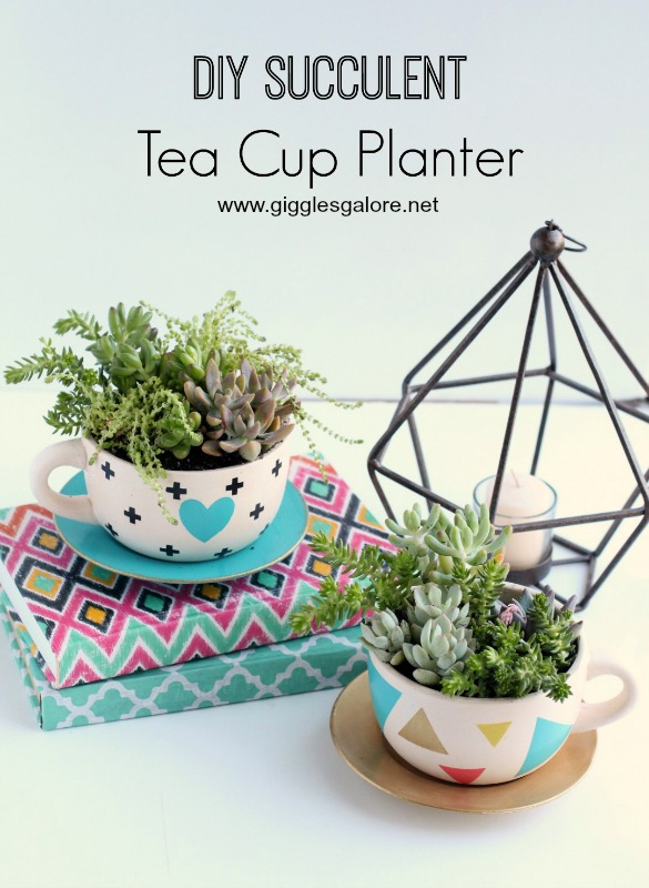 DIY Succulent Tea Cup Planters_Giggles Galore