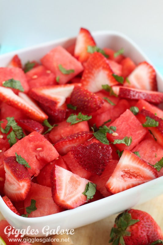 Fresh Watermelon Strawberry Mint Salad