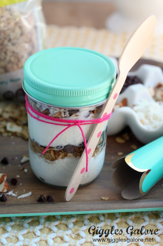 Layered Almond Joy Parfait in Mason Jar