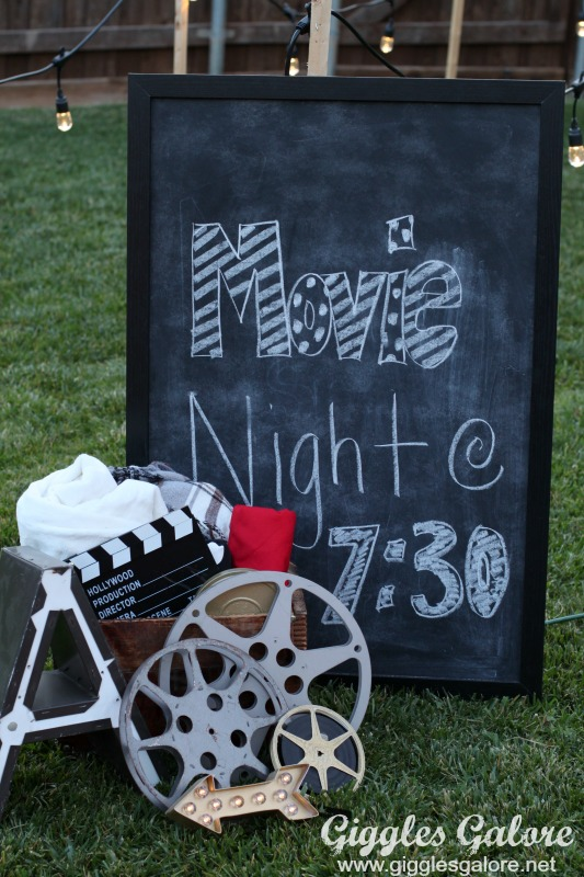 Movie Night Chalkboard Sign