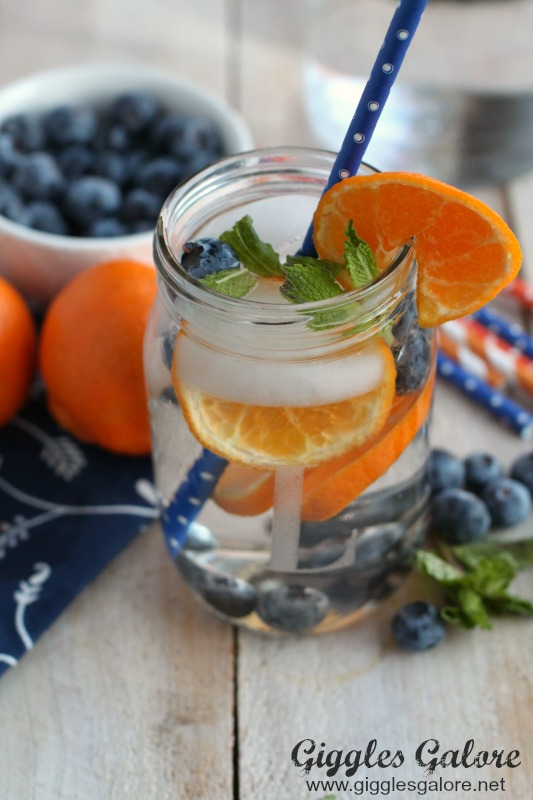 Orange Blueberry Mint Water