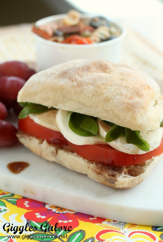 Perfect Picnic Sandwich_Roasted Garlic Caprese Sandwich_Giggles Galore