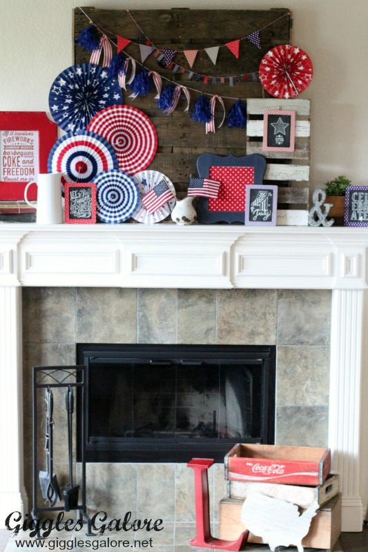 4th of July Patriotic Mantel Display_Giggles Galore