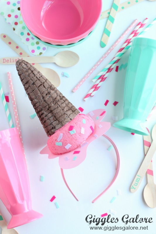 DIY Melted Ice Cream Cone Headband Party Accessory
