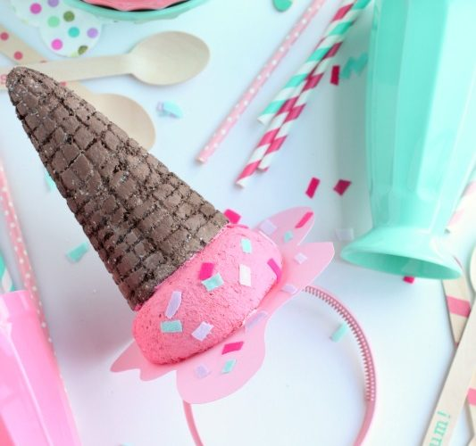 Diy melted ice cream cone party hat