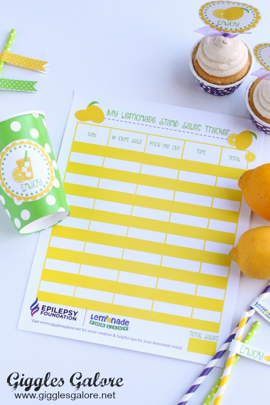 Lemonade Stand Sales Tracker Printable
