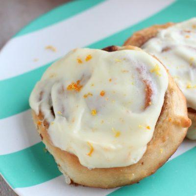 Homemade Cinnamon Rolls with Orange Cream Cheese Icing