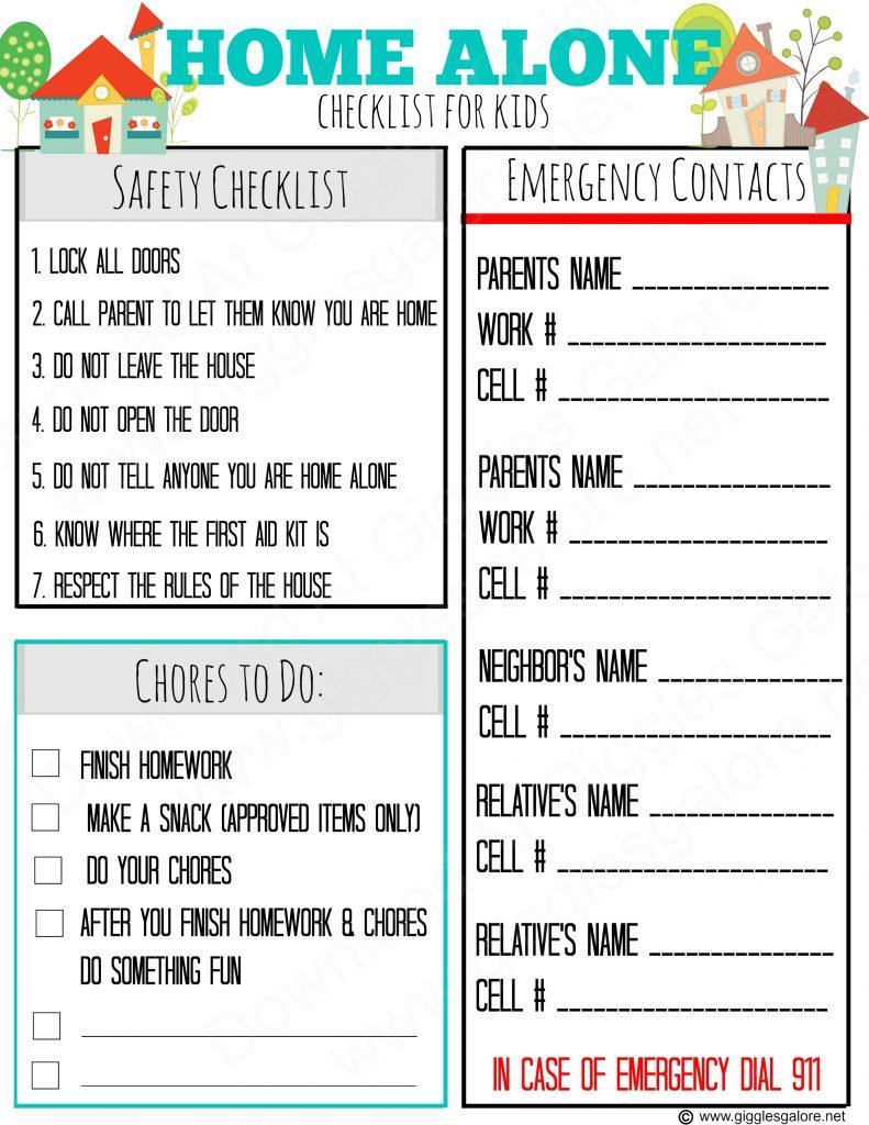 Download Home Alone Checklist for Kids