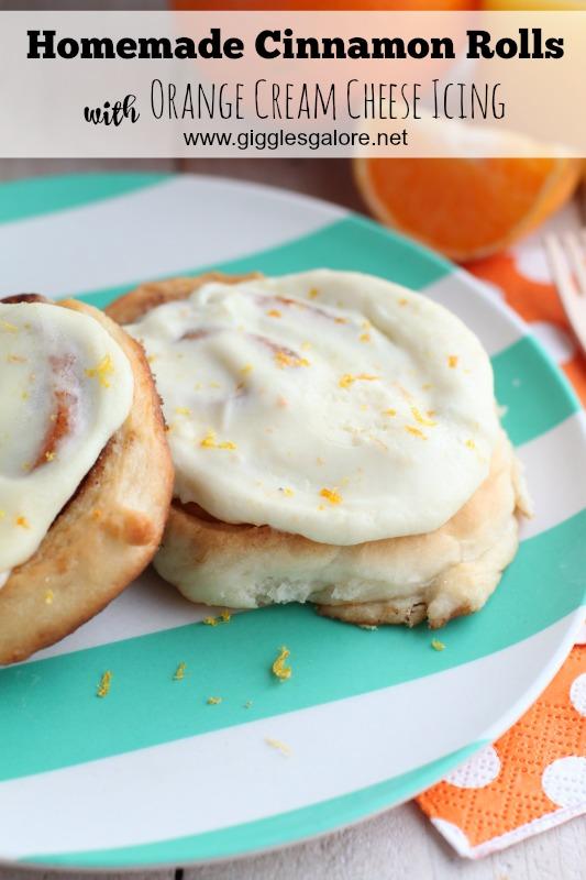 Homemade Cinnamon Rolls with Orange Cream Cheese Icing_Giggles Galore