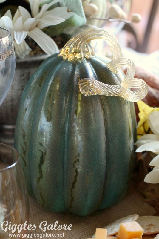 Teal Glass Pumpkin
