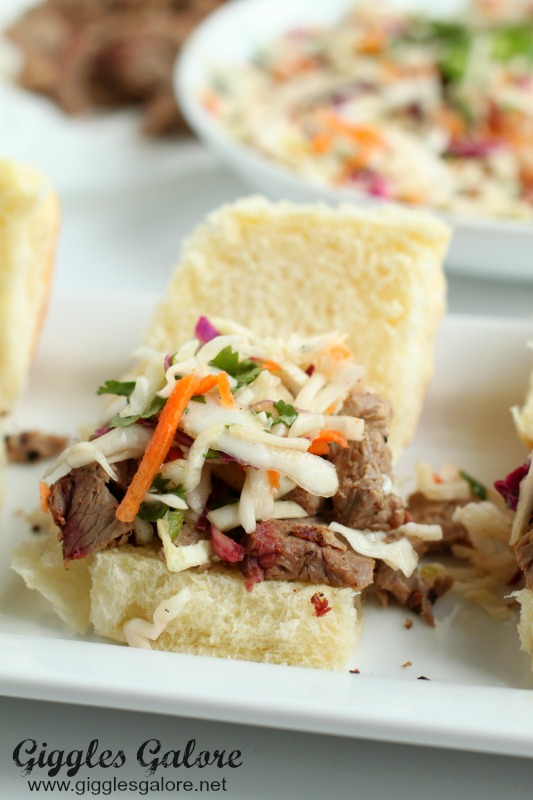 Chopped Brisket Sliders Topped with Spicy Coleslaw