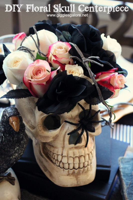 DIY Floral Skull Centerpiece_Bone Appetite Halloween Party