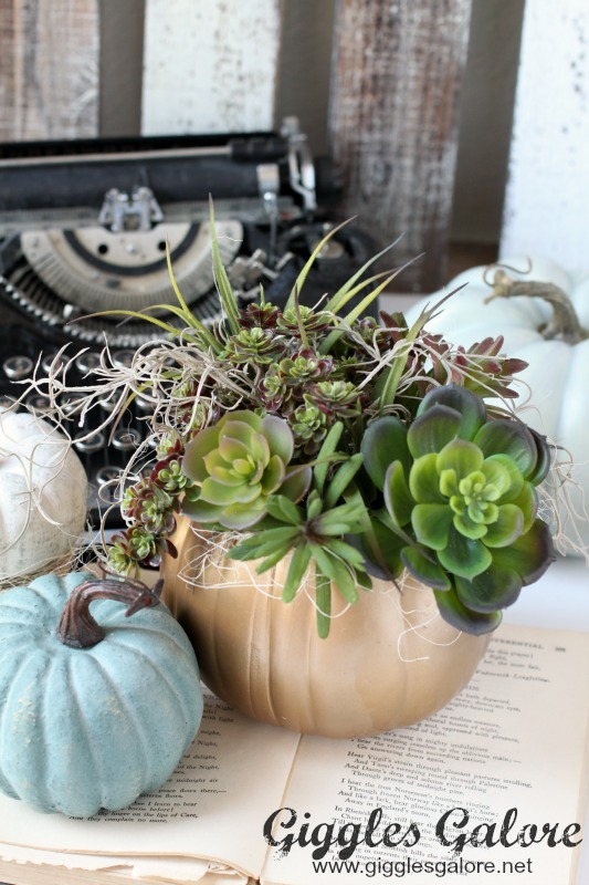 DIY Succulent Pumpkin Planter Fall Decor