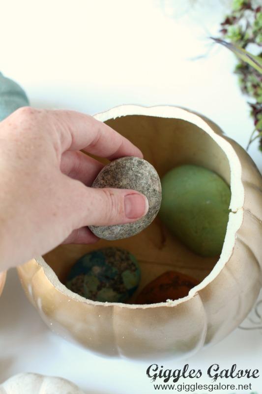 DIY Succulent Pumpkin Planter with Rocks