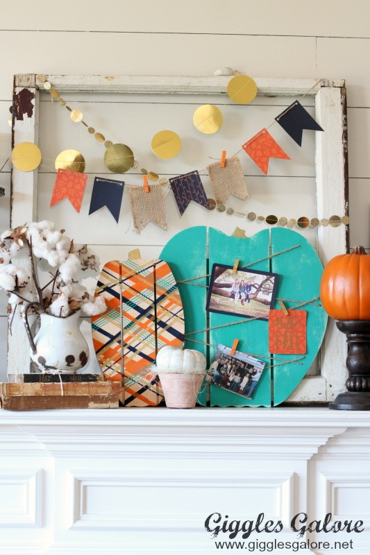 Fall Mantel Painted Wood Pallet Pumpkins