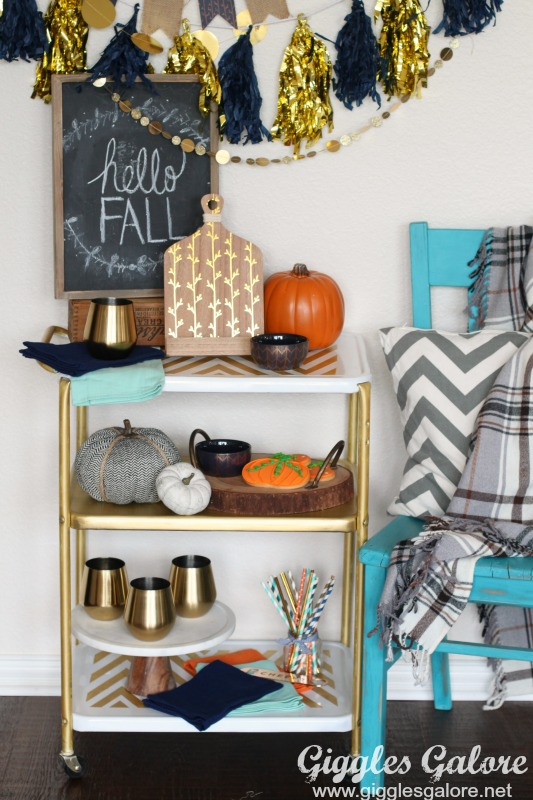 Fall Metallic Bar Cart