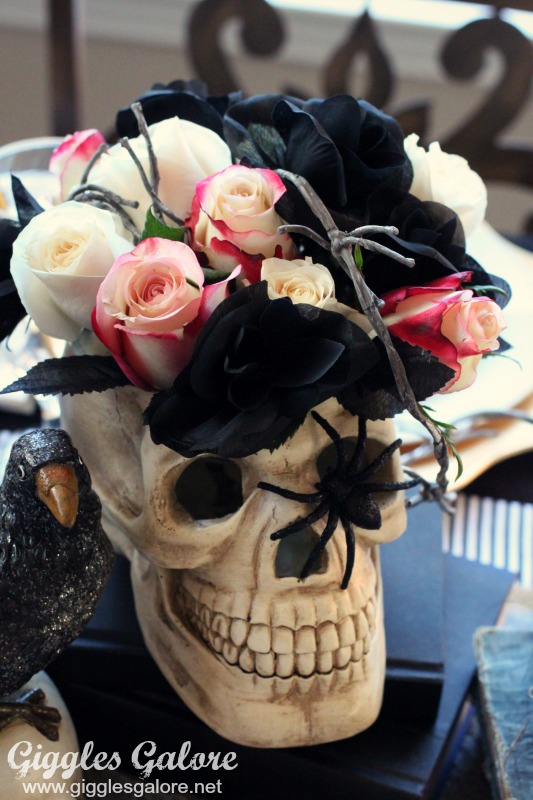 Floral Skull Centerpiece for Skeleton Themed Halloween Party