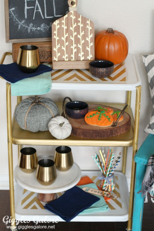 Metallic Fall Decorated Bar Cart