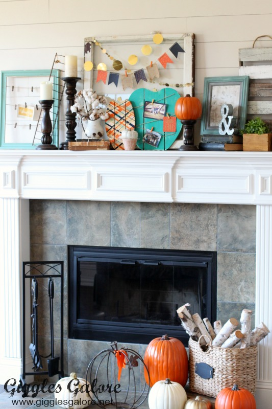 Painted Wood Pumpkins for Fall Mantel