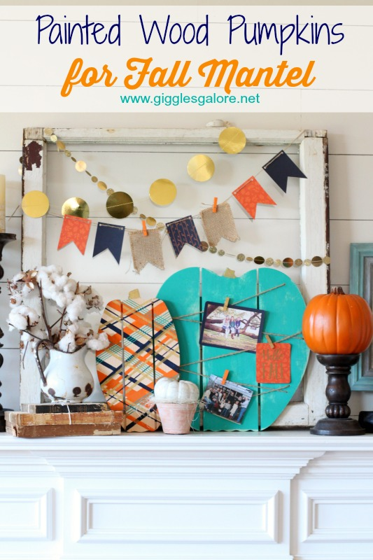 Painted Wood Pumpkins for Fall Mantel_Giggles Galore