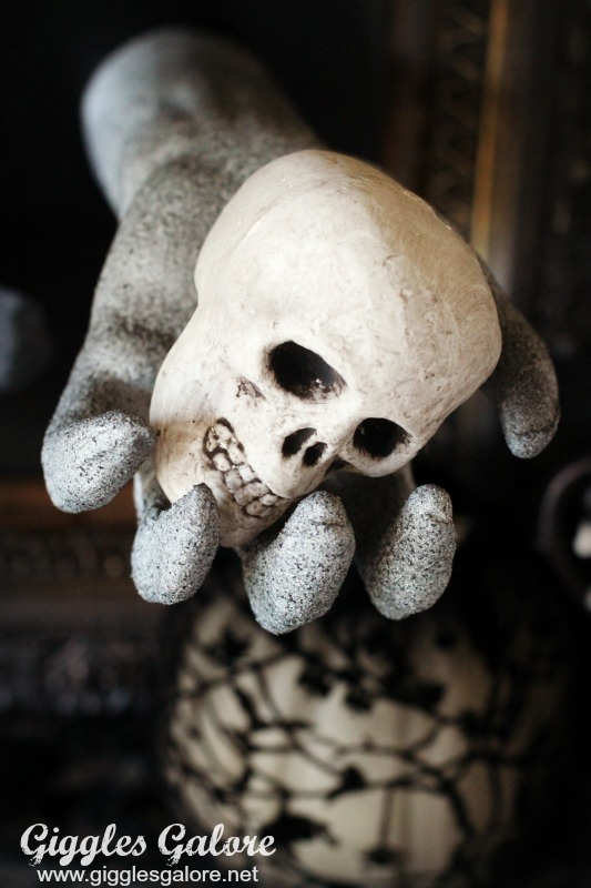 Skull in Hand Halloween Decor