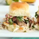 Tailgate brisket sliders with sweet and spicy jalapeno coleslaw