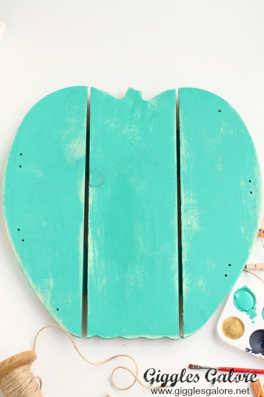 Teal Painted Pallet Pumpkin