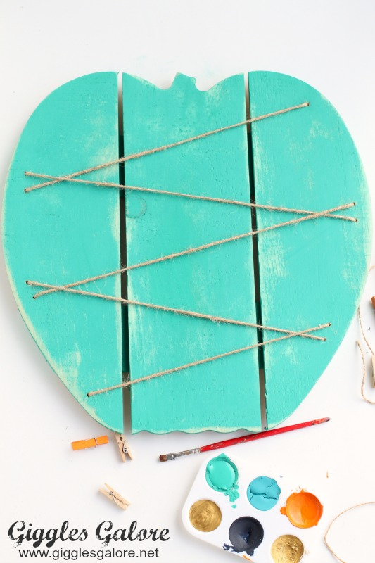 Teal Painted Pumpkin Memo Board