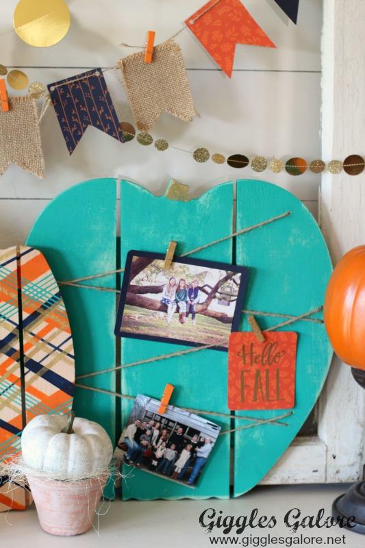 Teal Painted Wooden Pumpkin Memo Board