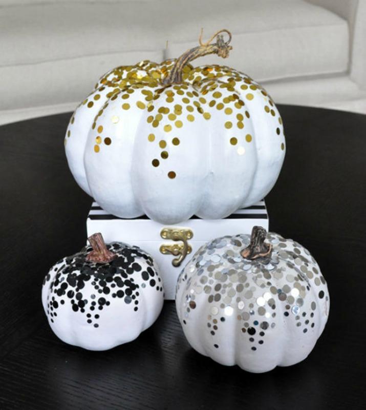 Confetti Pumpkins, 25 No Carve Pumpkin Decorating Ideas