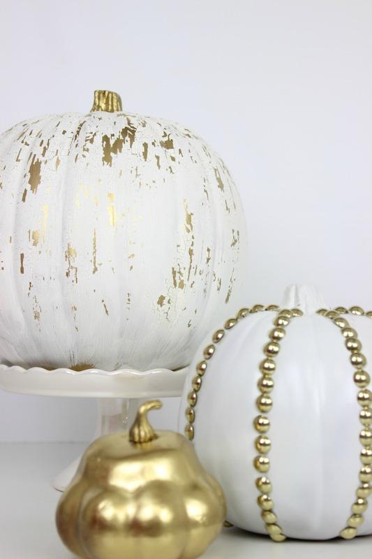 DIY Crackled and Studded Pumpkins, 25 No Carve Pumpkin Decorating Ideas