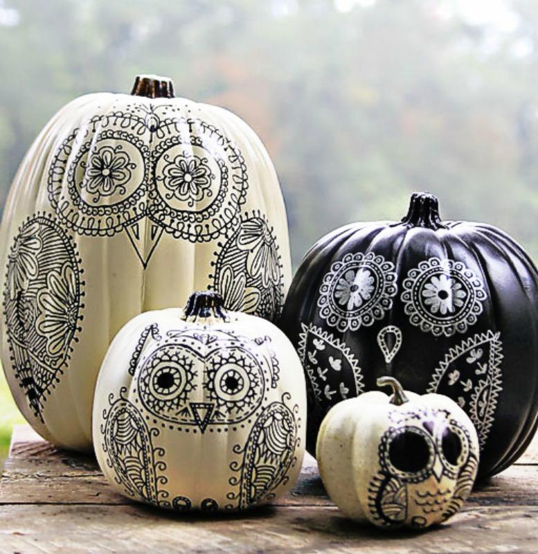 DIY Sharpie Owl Pumpkins, 25 No Carve Pumpkin Decorating Ideas