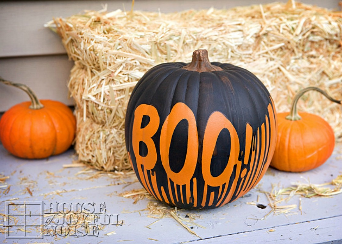 Dripping Paint Pumpkin, 25 No Carve Pumpkin Decorating Ideas