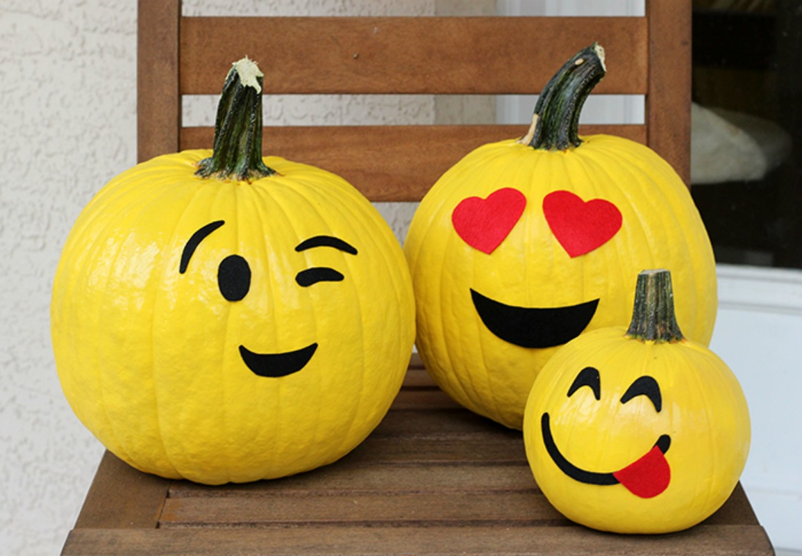Pin this Emoji Pumpkins, 25 No Carve Pumpkin Decorating Ideas