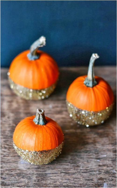 glitter-dipped-pumpkins