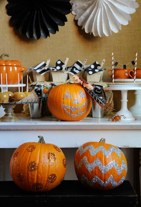 pin this glittering pumpkins 25 no carve pumpkin decorating ideas - Decorated Halloween Pumpkins
