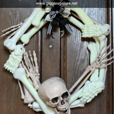 Glow in the Dark Halloween Skeleton Wreath