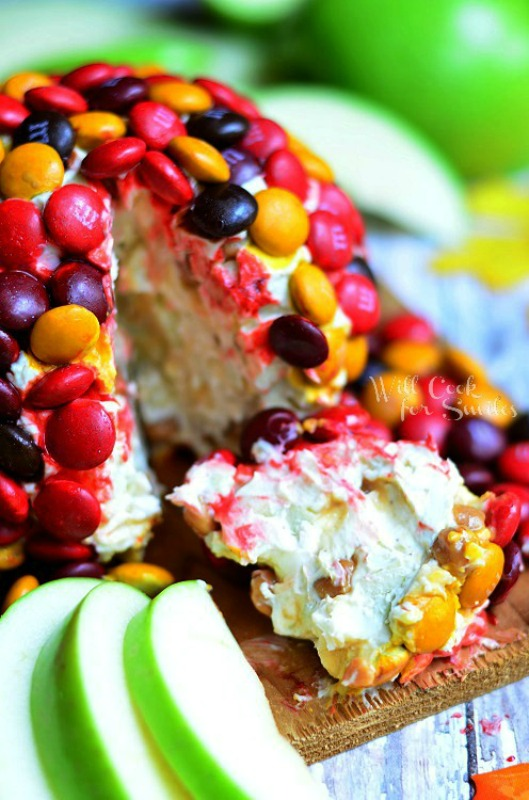 M&M Caramel Apple Cheese Ball, Leftover Halloween Candy Recipes
