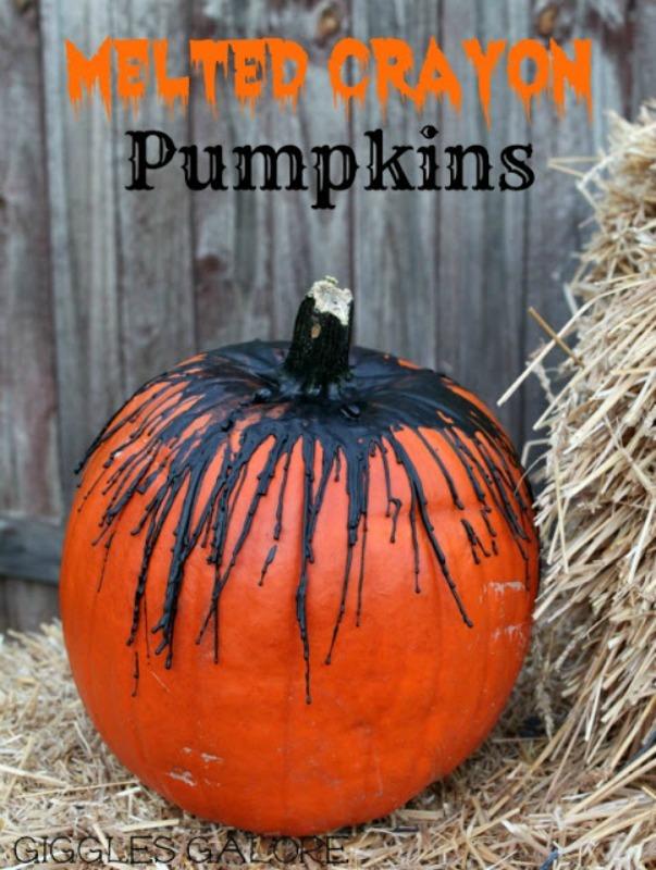 Melted Crayon Pumpkin, 25 No Carve Pumpkin Decorating Ideas