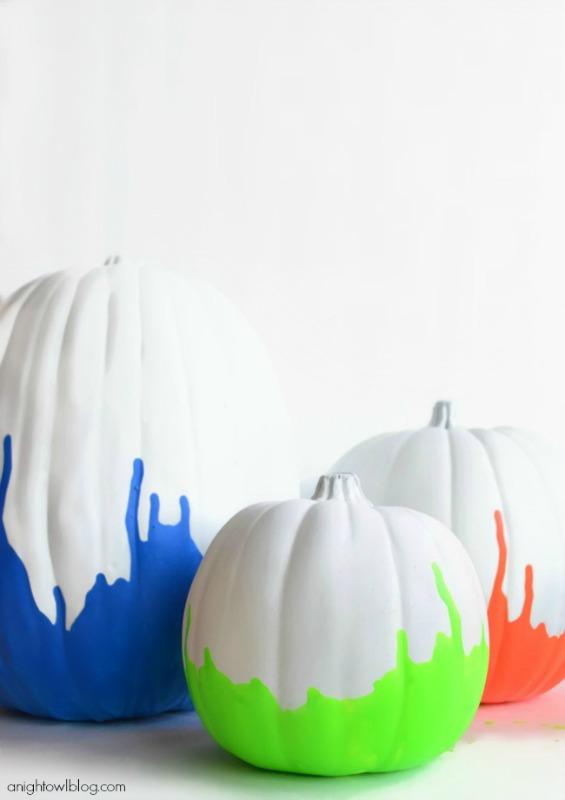 Neon Paint Dipped Pumpkins, 25 No Carve Pumpkin Decorating Ideas