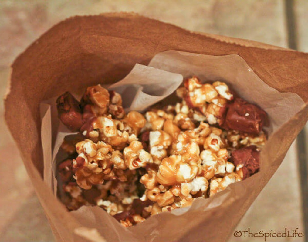 Salted Caramel Corn with Candy, Leftover Halloween Candy Recipes