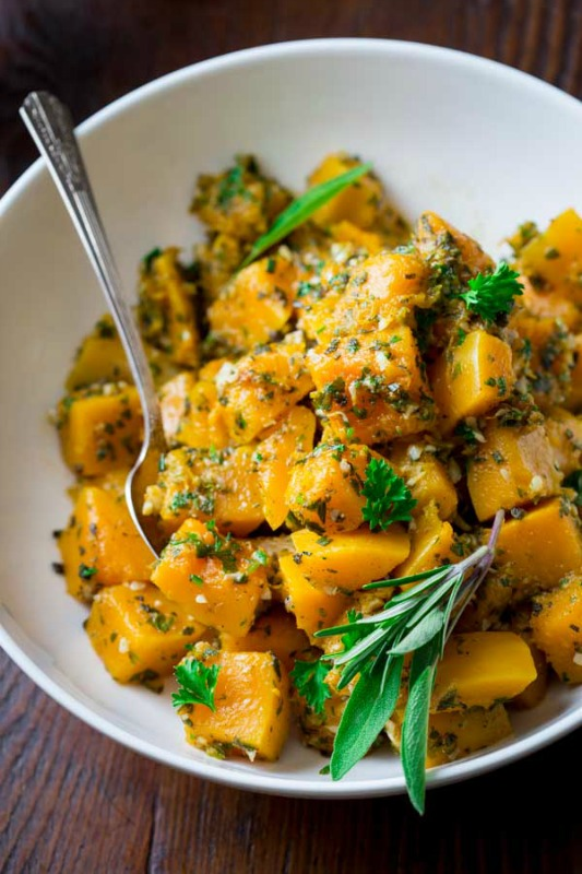 Easy Garlic Herb Butternut Squash, Thanksgiving Side Dishes your Guests will LOVE via Giggles Galore