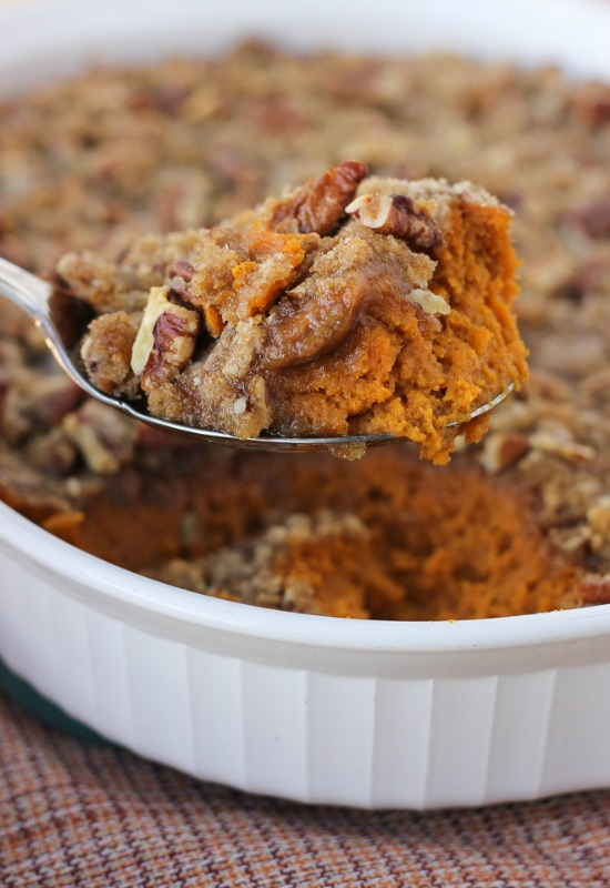 Sweet Potato Casserole with Pecan Praline Topping, Thanksgiving Side Dishes your Guests will LOVE via Giggles Galore