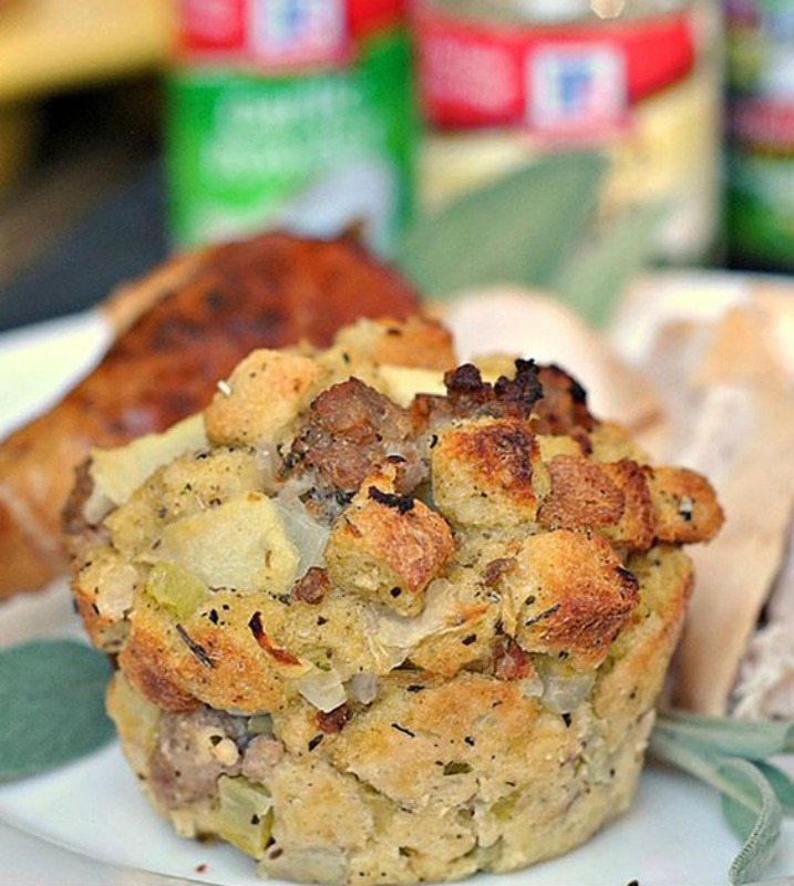 Sausage, Apple and Sage Stuffing Muffins, Thanksgiving Side Dishes your Guests will LOVE via Giggles Galore