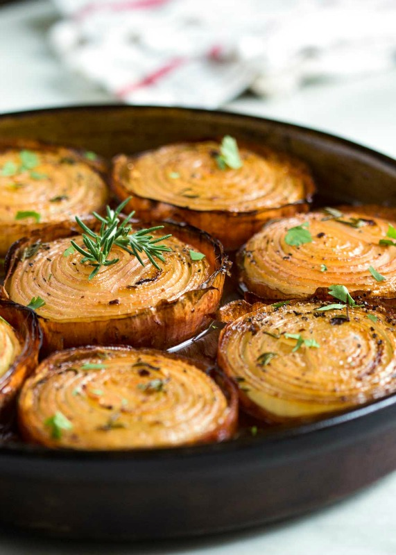 Marinated Slow Roasted Onions, Thanksgiving Side Dishes your Guests will LOVE via Giggles Galore