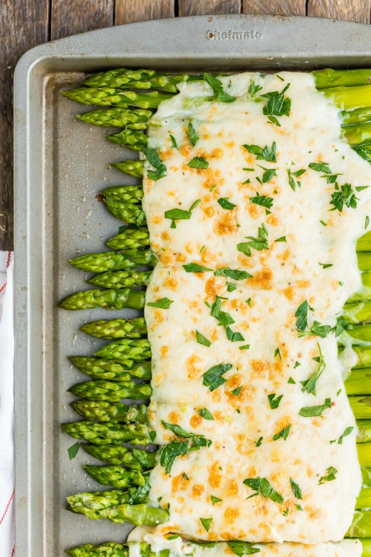 Three Cheese Asparagus Gratin, Thanksgiving Side Dishes your Guests will LOVE via Giggles Galore