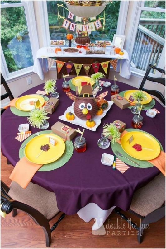Bright and Colorful Thanksgiving Party, Kids Thanksgiving Table Ideas via Giggles Galore