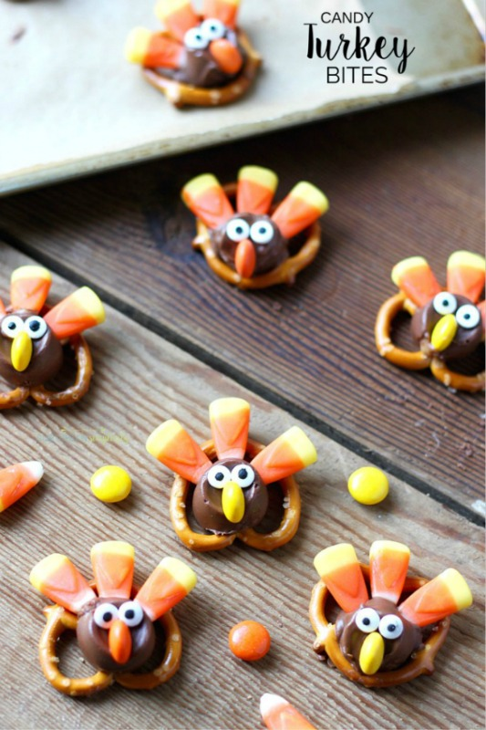 Candy Turkey Bites, Kids Thanksgiving Table Ideas via Giggles Galore