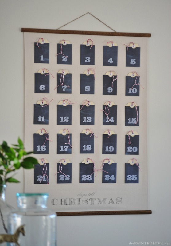 Christmas Advent Calendar Wall Chart, DIY Christmas Countdown Advent Calendar Ideas